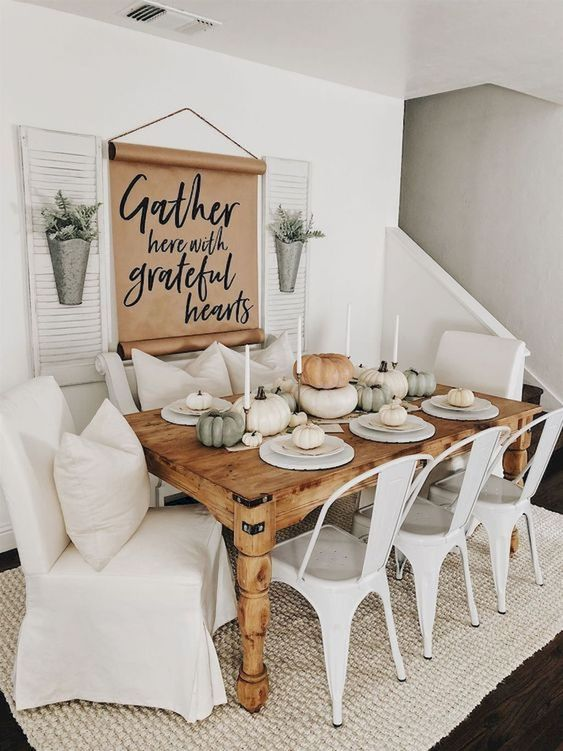 Farmhouse Dining Room: Earthy All-White Decor