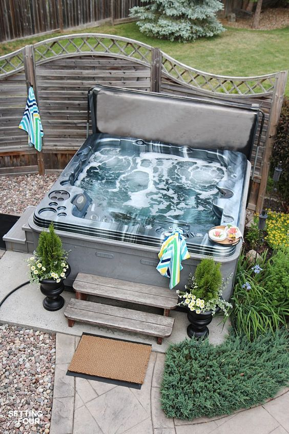 Hot Tub Patio: Simple Small Design