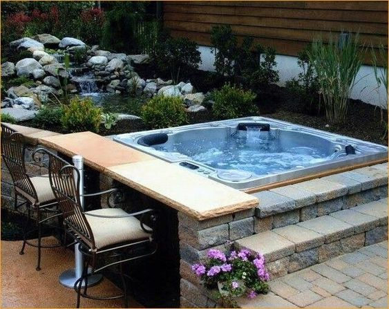 Hot Tub Patio: Cozy Earthy Design