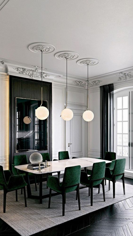 Green Dining Room Ideas: Glamorous Transitional Decor