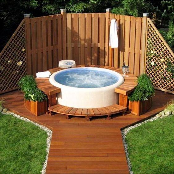 Hot Tub Landscaping: Cozy Earthy Decor