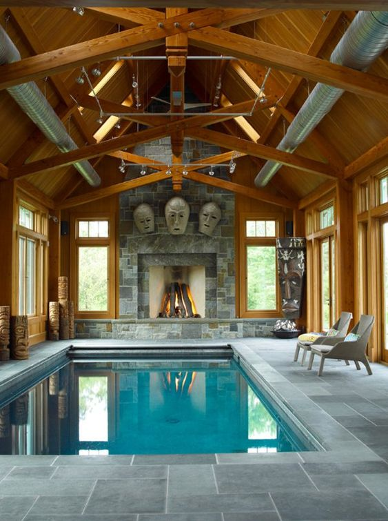 Indoor Swimming Pool Ideas: Vintage Rustic Decor