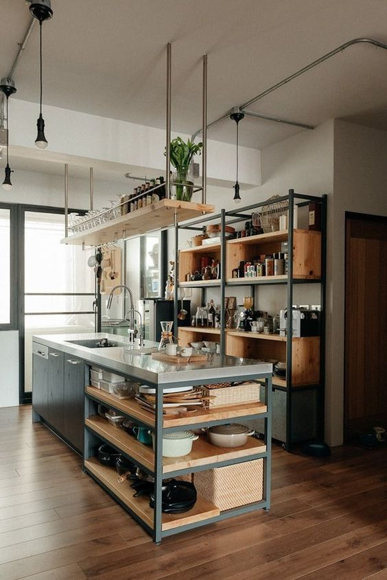 Wood Kitchen Ideas: Elegant Industrial Decor
