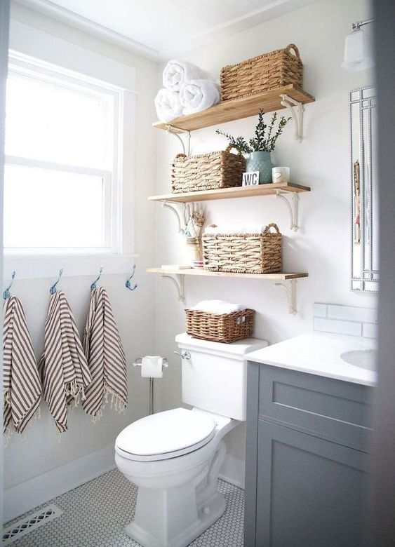 DIY Bathroom Organizations: Floating Earthy Shelves