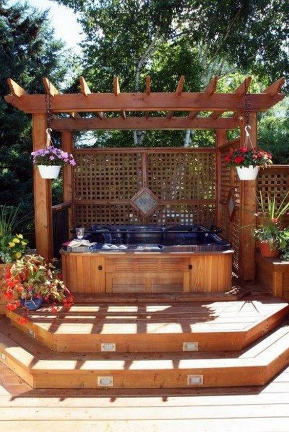 Hot Tub Backyard: Beautiful Earthy Deck