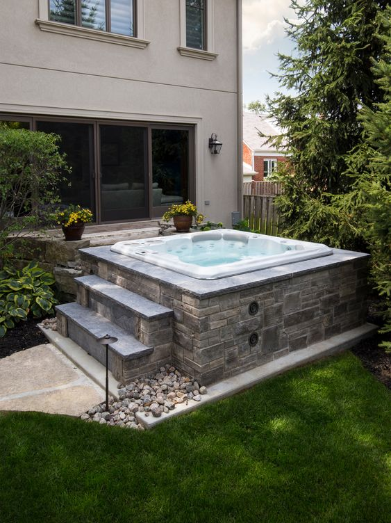 Hot Tub Backyard: Modern Rustic Patio