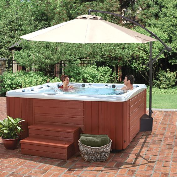 Hot Tub Backyard: Earthy Rustic Patio