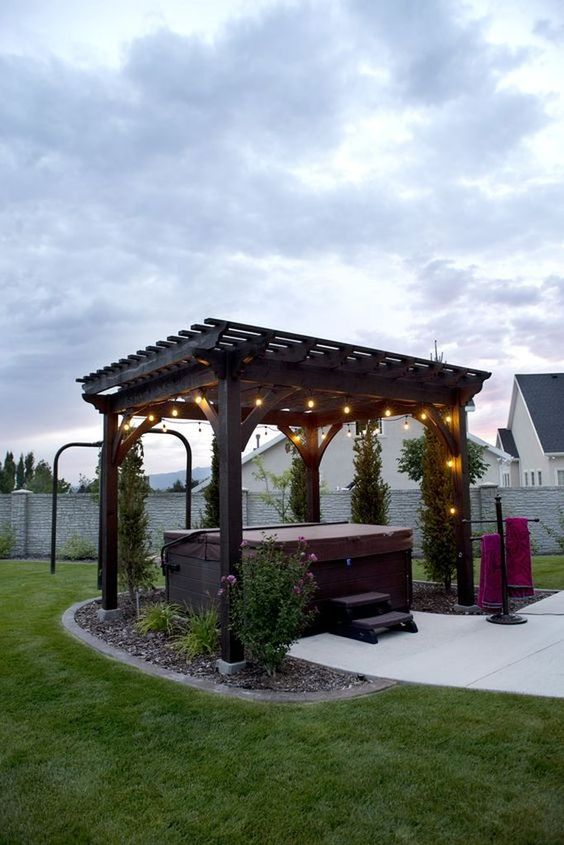 Hot Tub Backyard: Stylish Earthy Patio