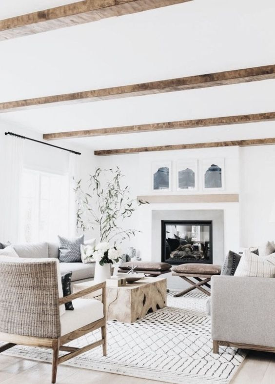 Living Room Paint Ideas: Earthy All-White Decor
