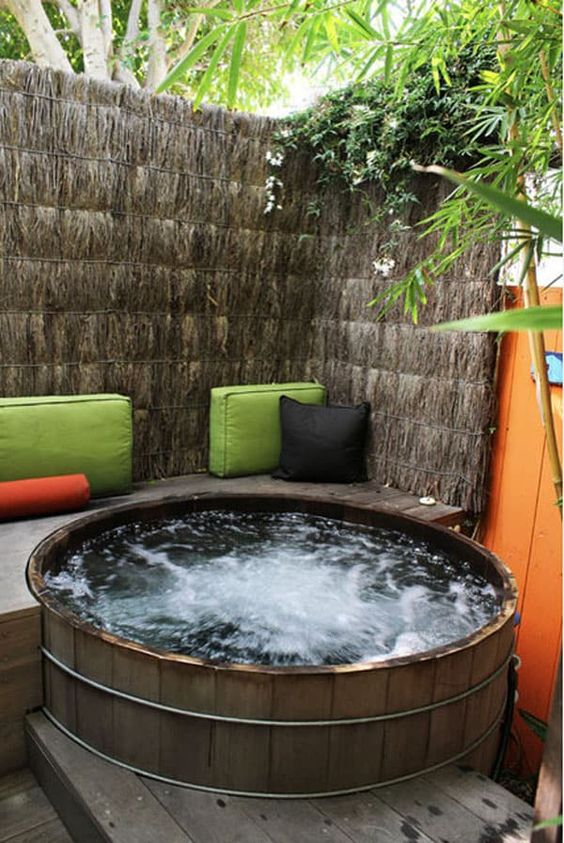 Small Hot tub Ideas: Earthy Modern Tub