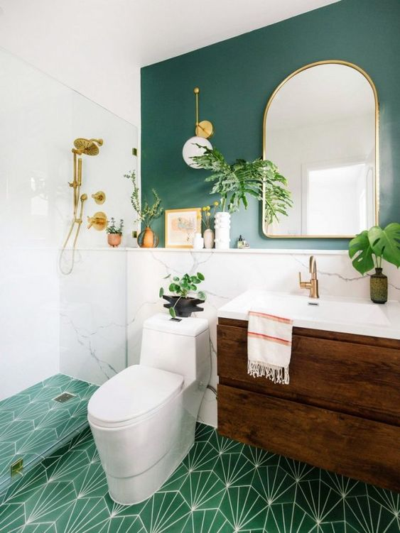 Bathroom Paint Ideas: Earthy Green Decor