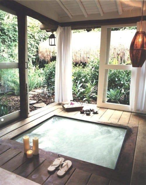 Indoor Hot Tub Ideas: Cozy Rustic Room