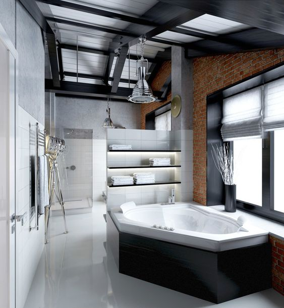Indoor Hot Tub Ideas: Stylish Modern Bathroom