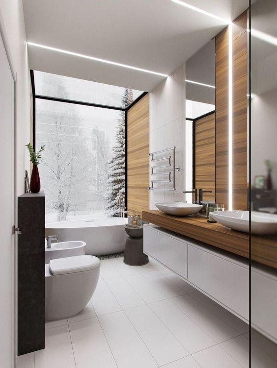 Bathroom Wood Ideas: Minimalist Wood Accent