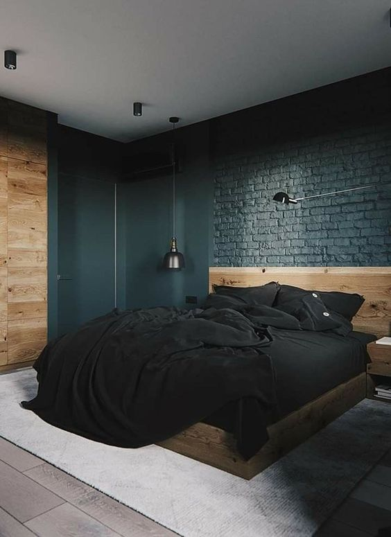Industrial Bedroom Ideas: Masculine Dark Bedroom
