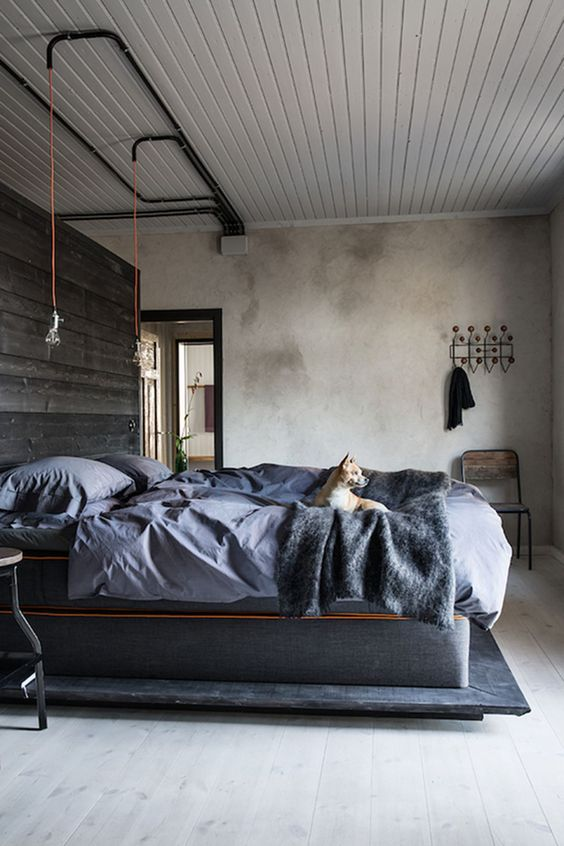 Industrial Bedroom Ideas: Elegant Dark Grey