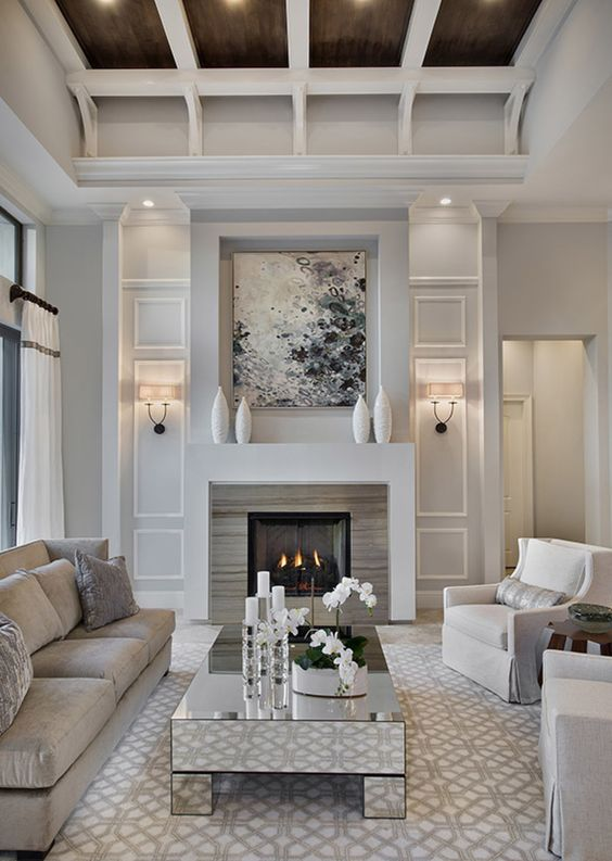 Living Room with Fireplace Ideas: Luxurious Living Room