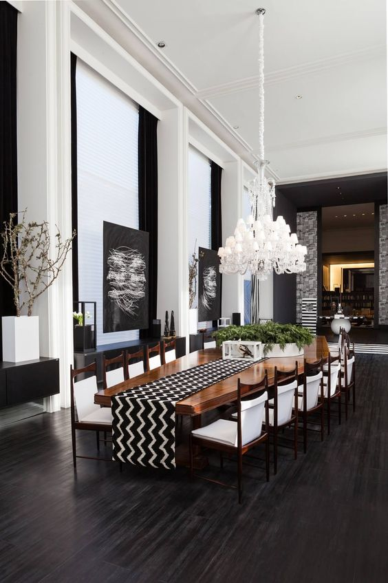 Dining Room Luxury Ideas: Minimalist Black and White