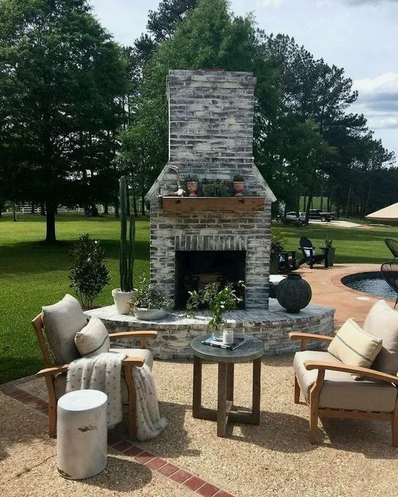 Backyard Fireplace Ideas 15
