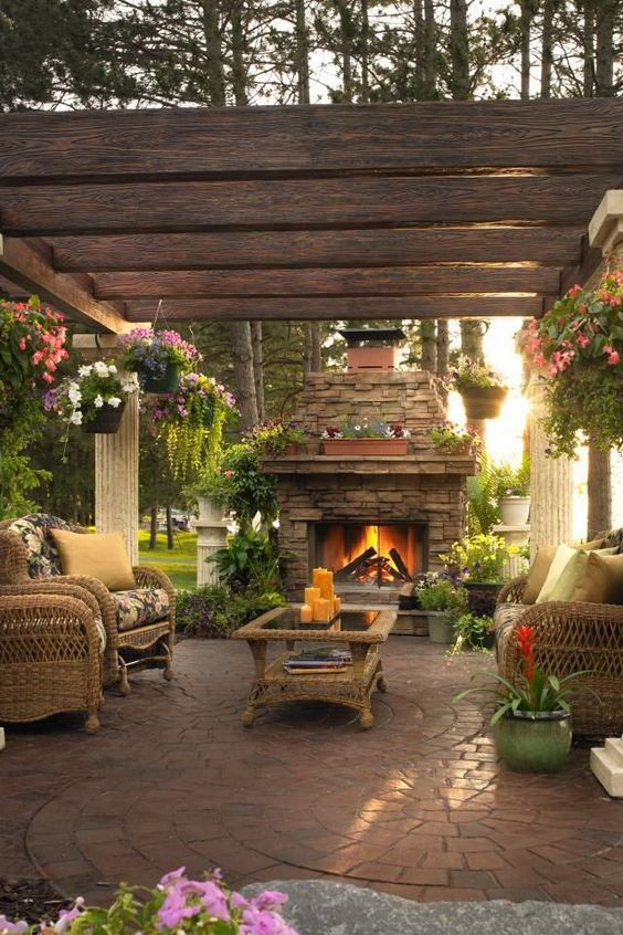 Backyard Fireplace Ideas 17