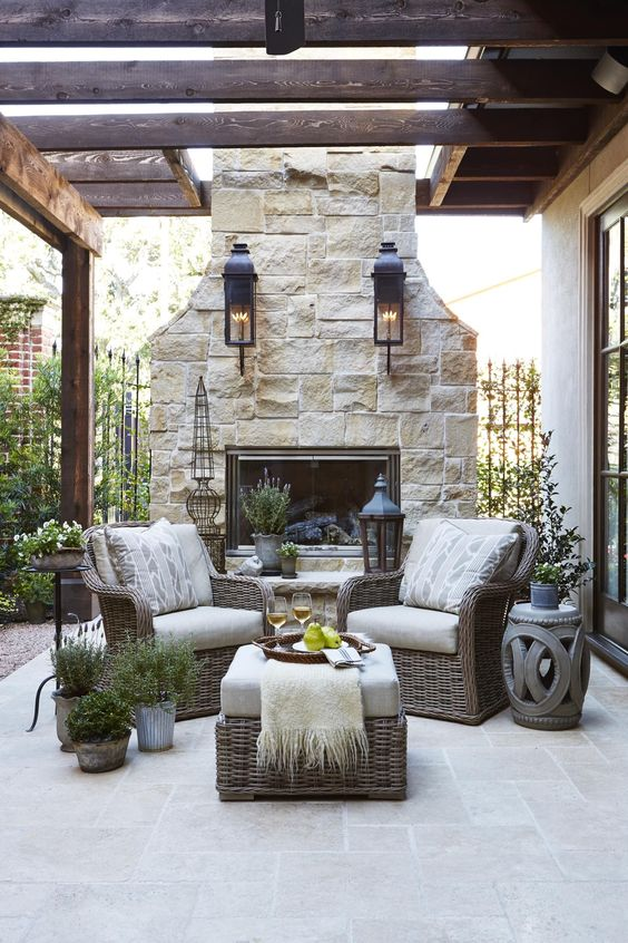Backyard Fireplace Ideas 21
