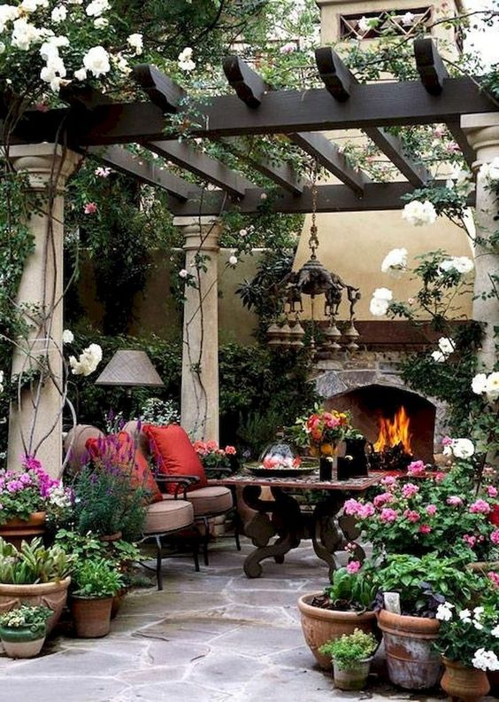 Backyard Fireplace Ideas 22