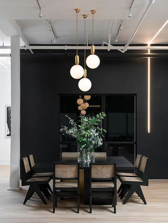 Black Dining Room Ideas 19