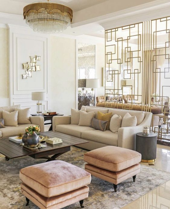 Living Room Luxury Ideas: Elegant Warm Shades