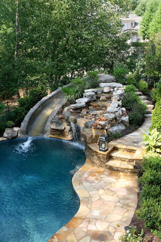 Swimming Pool with Slides Ideas: Breathtaking Slide Feature