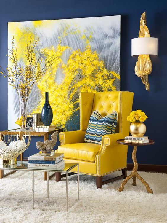 Navy Living Room Ideas: Bright Yellow Accent