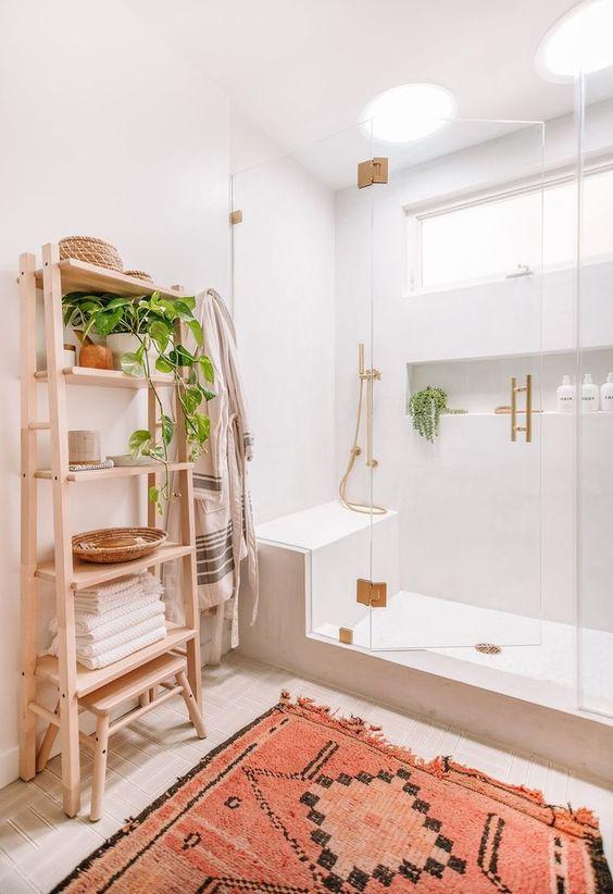 Bathroom Storage Ideas: Elegant Wood Shelf