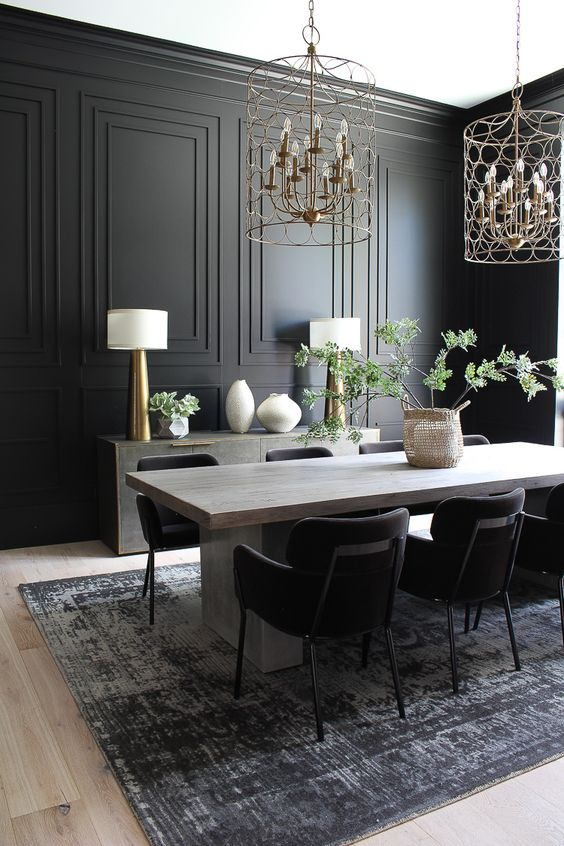 Dining Room Colors Ideas: Chic Matte Black