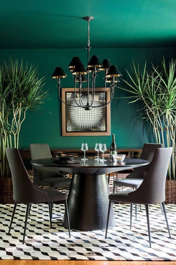 Dining Room Colors Ideas: Stunning Emerald Green