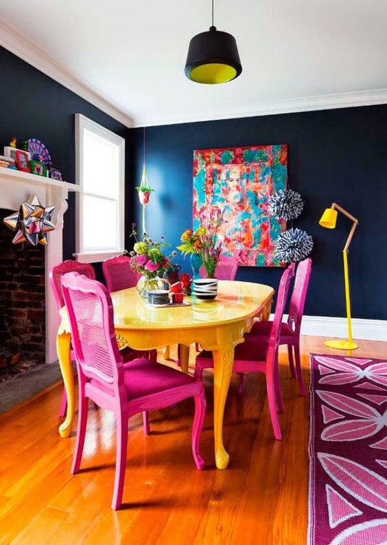 Dining Room Colors Ideas: Mesmerizing Retro Vibe
