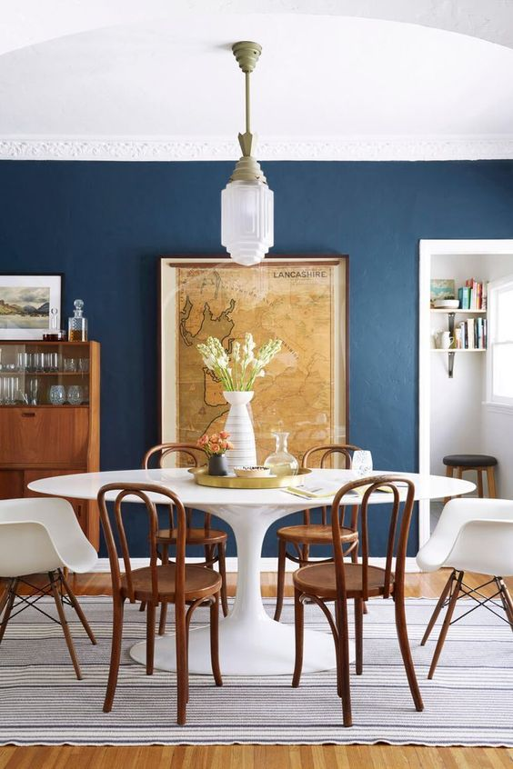Dining Room Colors Ideas: Captivating Navy Accent