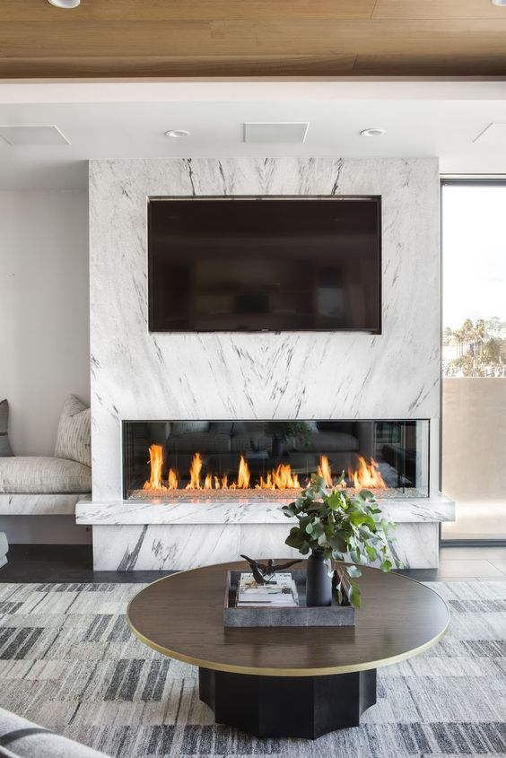 Living Room with TV Ideas: Elegant Marble Accent