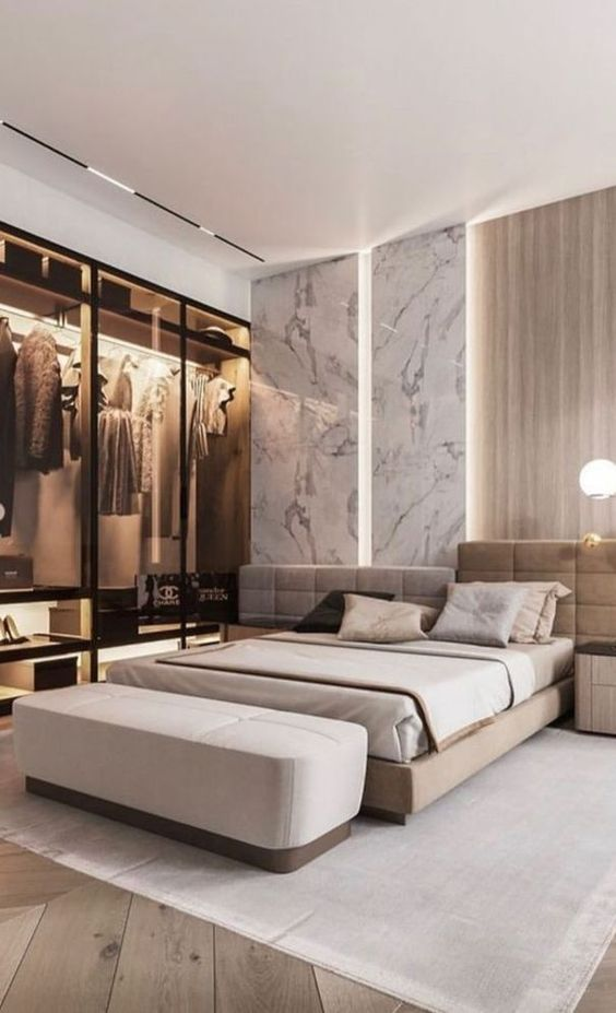 Modern Bedroom Ideas: Elegant Marble Accent
