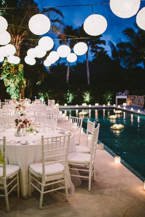 Swimming Pool Party Ideas: Bright Night View