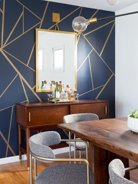 Navy Dining Room Ideas: Beautiful Gold Accents